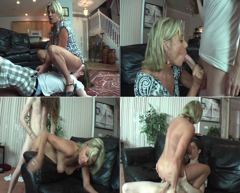 Creampie eating threesome