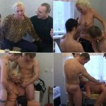 Russian incest family. Son with two friends fucks beauty Mommy in kitchen foursome