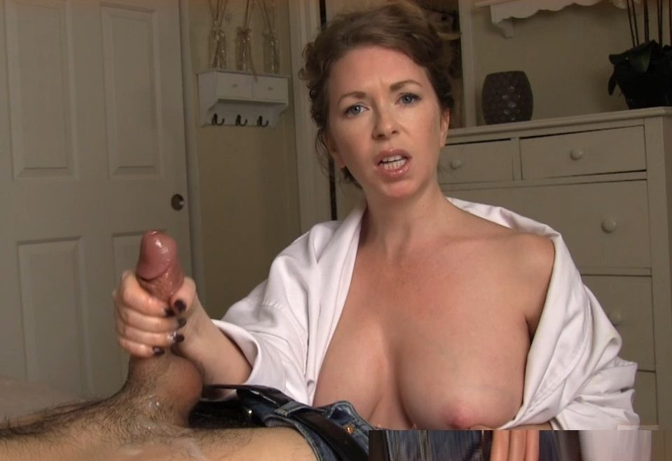 Mom giving son handjob clip