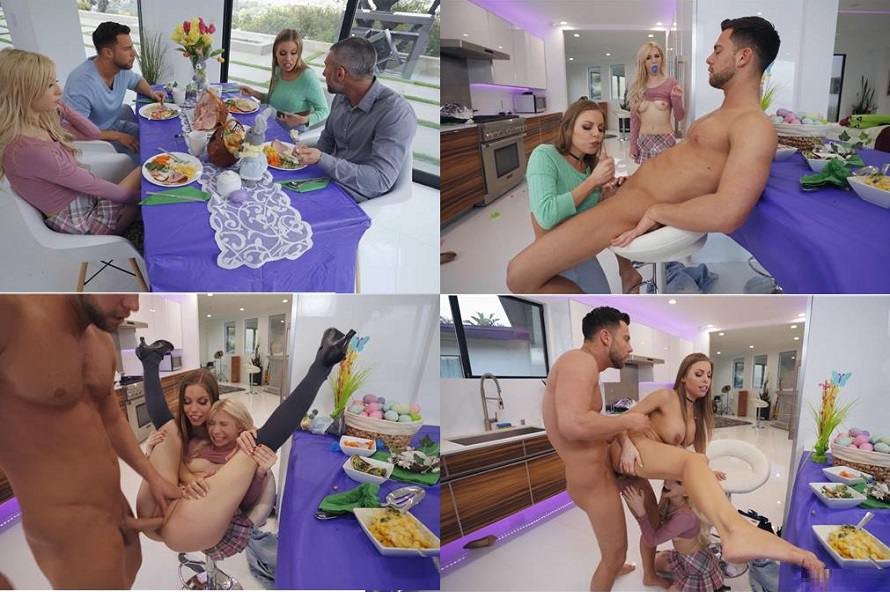 [Incest 2019] Family Group Porn – Britney Amber & Kenzie Reeves – Easter Dinner At Stepmom's FullHD mp4