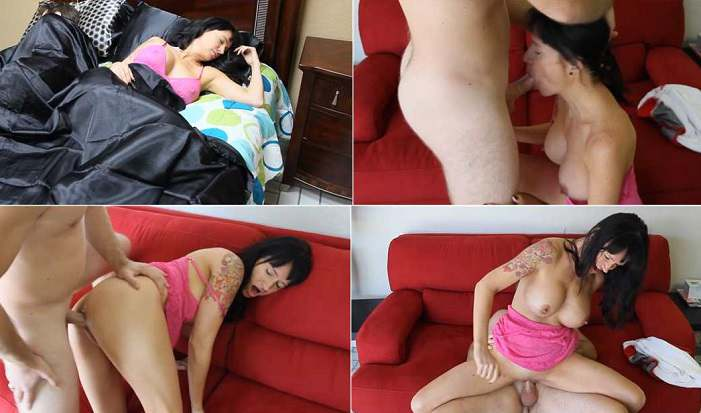 ANGIE NOIR TABOO MILF Angie Noir - Step-Dad Is Napping-Time To Bang Step-Mom HD 720p